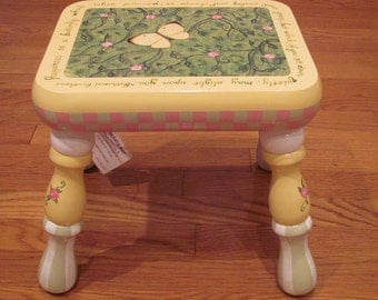 Hand Painted Rectangular Butterfly Step Stool