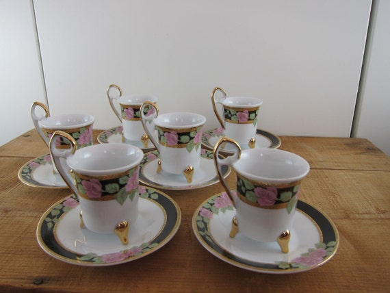 Set of Six Demitasse Tea Cups or Espresso Cups, Porcelain White with Black, Gold, and Pink Roses