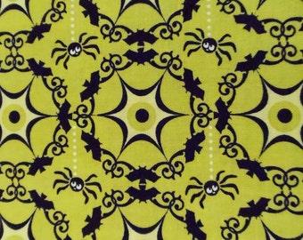 SALE One Yard Lime Green Costume Clubhouse - Riley Blake Spiders, Bats, Eyeballs