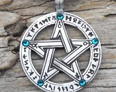 Pewter Pentagram Swarovski Crystal Pendant, Pagan Wiccan Pentacle with Runes and Blue Topaz DECEMBER Birthstone (50G)