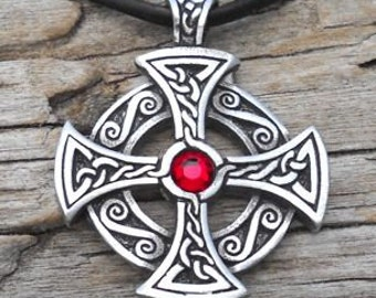 Pewter Solar Cross Swarovski Crystal Celtic Druid Irish Red Garnet JANUARY Birthstone Pendant (25B)