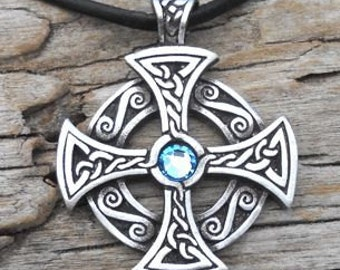 Pewter SOLAR CROSS Swarovski Crystal Celtic Druid Irish Aquamarine Blue MARCH Birthstone Pendant