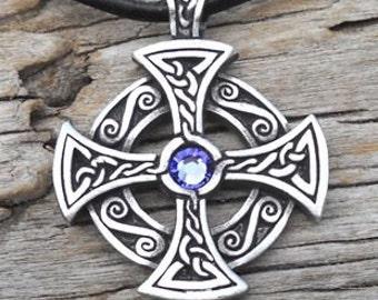 Pewter SOLAR CROSS Swarovski Crystal Celtic Druid Irish Lavender Tanzanite JUNE Birthstone Pendant