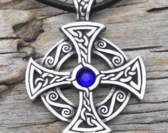 Pewter SOLAR CROSS Swarovski Crystal Celtic Druid Irish Sapphire Blue SEPTEMBER Birthstone Pendant