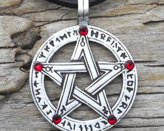 Pewter Pentagram Swarovski Crystal Pendant, Pagan Wiccan Pentacle with Runes and Red Garnet JANUARY Birthstone (50G)