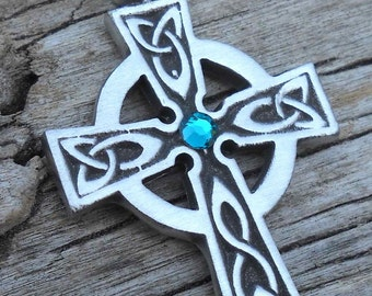Pewter Celtic Cross Irish Wales Pendant with Swarovski Crystal Blue Topaz DECEMBER Birthstone (300)