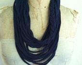 Recycled navy braided t shirt teeshirt infinity scarf