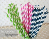 Lime Green Navy and Pink Striped Paper Drinking Straw - 45