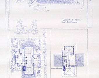 Frank Lloyd Wright DeRhodes House Blueprint