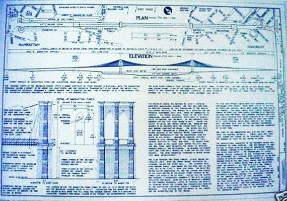 Brooklyn Bridge Blueprint By Blueprintplace On Etsy