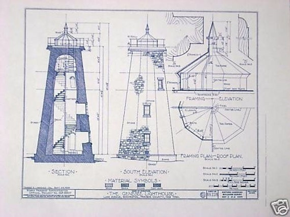 Genesee Lighthouse Blueprint By Blueprintplace On Etsy