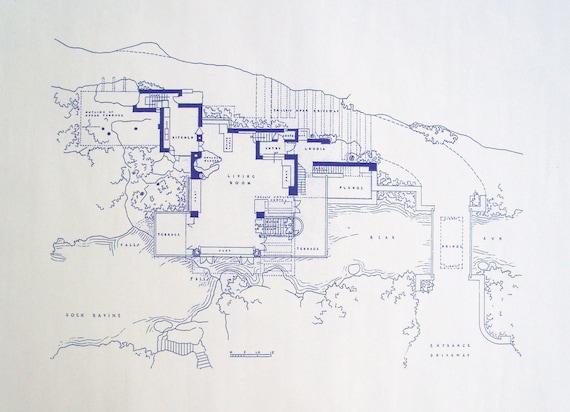 Frank Lloyd Wright Falling Water Site Blueprint By