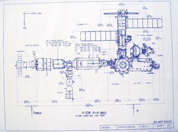 International Space Station Port View Blueprint By