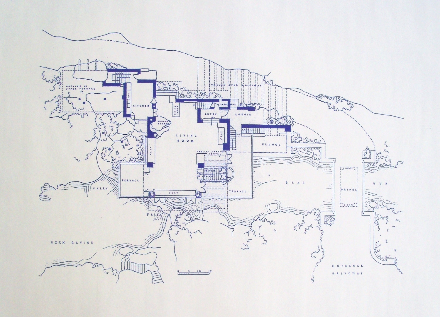 Frank Lloyd Wright Falling Water Site Blueprint By