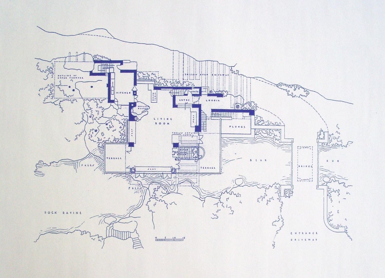 Frank Lloyd Wright Falling Water Site Blueprint by ...
