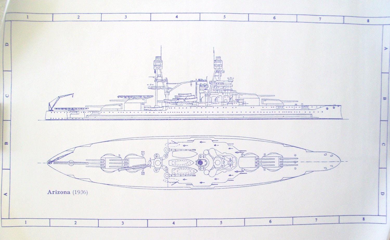 Ww Ii Battleship Uss Arizona Blueprint By Blueprintplace