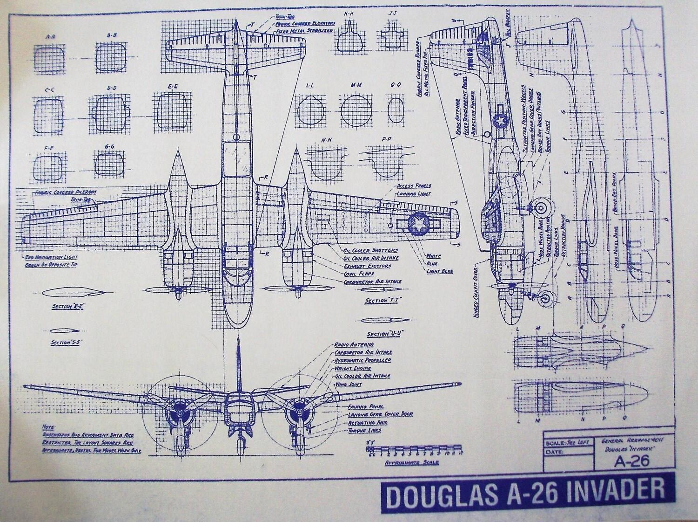 Ww Ii Aircraft Douglas A 26 Invader Blueprint By
