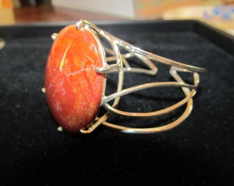Carnelian Cuff in Sterling Silver Cage Setting