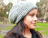 Slouchy beanie hat - COLORS - chunky - crochet - womens Winter Autumn accessories - grey Wool Woolen - gift