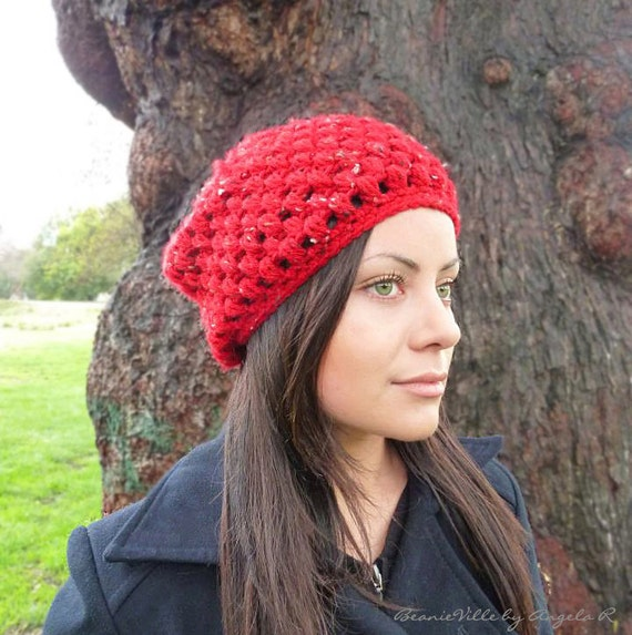 Classic beanie hat - Italian Red with white accents - crochet - womens Winter Autumn accessories