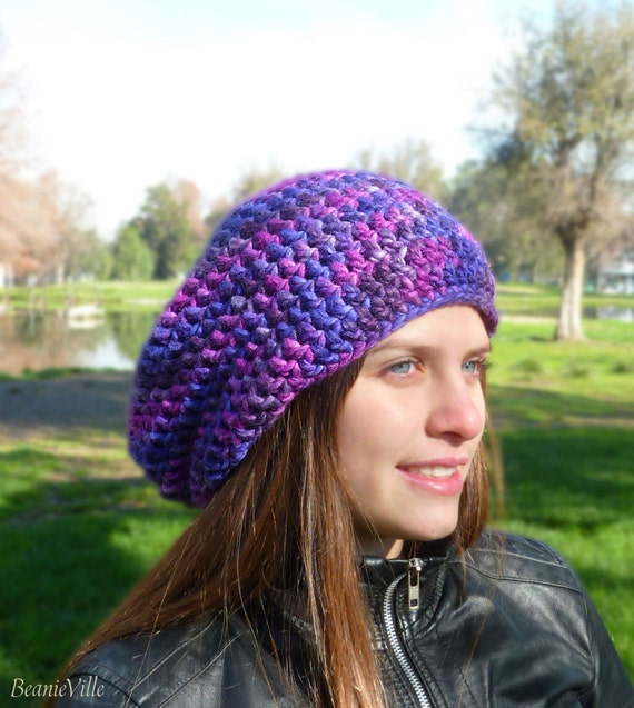 Slouchy beanie hat - Purple / Violet combination - chunky - crochet - womens Winter Autumn accessories - Wool Woolen