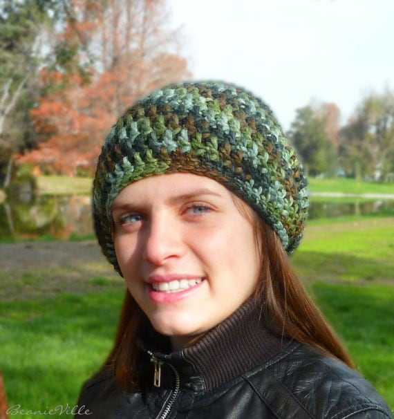 SPECIAL - Slouchy beanie hat - Variegated PETROL BLUE / Green / Brown - chunky - crochet - womens Winter Autumn accessories - Wool Woolen