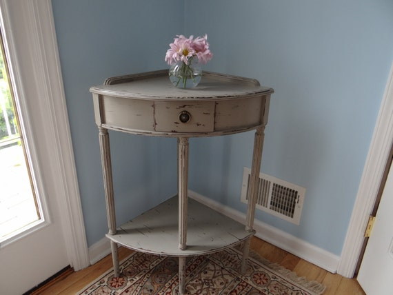 Hand Painted Gray/Green Corner Table