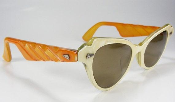 Custom Dyed 1950's Cats Eye Sunglass Frame Womens Plastic Bone & Orangesicle Unusual Pin Up