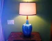 Gorgeous Large Mid Century Iridecent Aqua Pottery Lamp