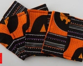 4 x Halloween Style Pumpkin and Sripe Patchwork Fabric Coaster (CH3)