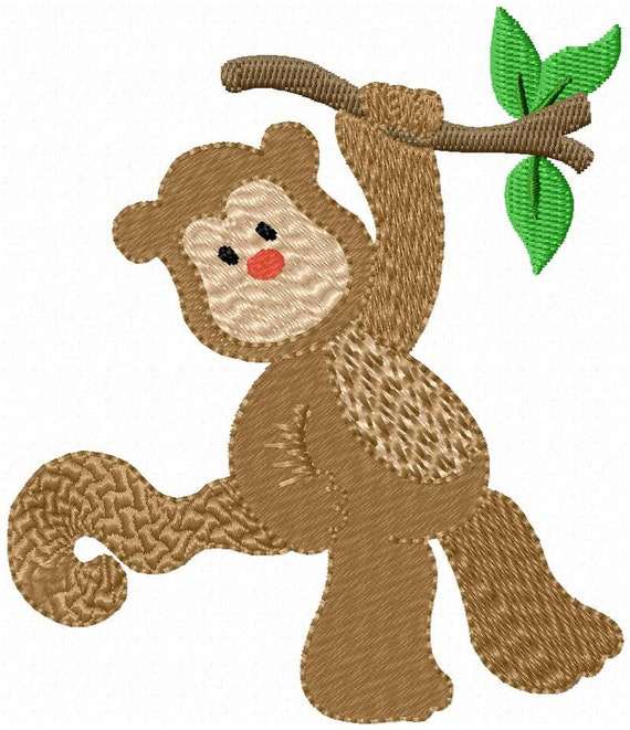 Safari monkey cute jungle animal machine embroidery patterns
