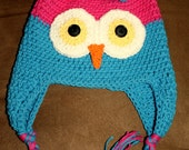 Hot Pink/Hot Blue Owl Hat