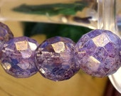 12mm Czech Glass Fire Polished Beads - Amethyst Luster (FP0392) - Qty 6