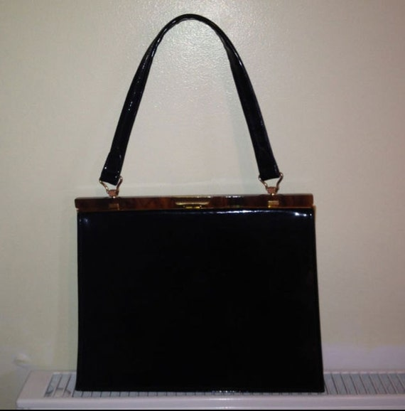 Vintage 50s 60s Patent Leather Kelly Bag
