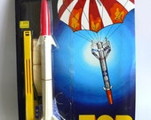 Vintage Quercetti TOR Space ROCKET Parachute Flying Toy MOC 1970's