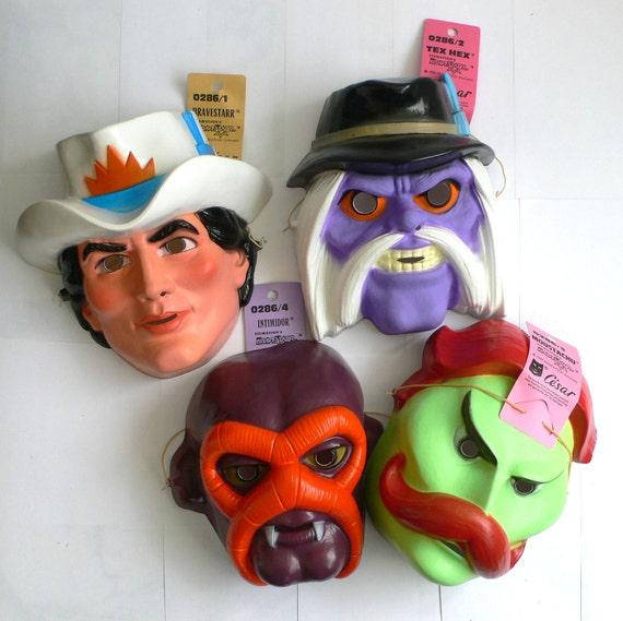 Vintage MASK Masque César Set of 4 BRAVESTARR 1980's