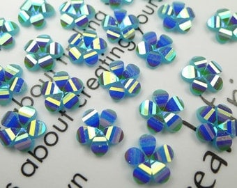 50 Pcs of 12mm Resin Faceted AB Teal Colored Flower Cabochon