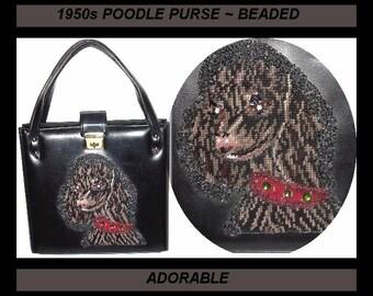 Vintage 1950s Purse Handbag Poodle Needle point Beaded Designer Mad Man Rockabilly Retro Garden Party Collectible Beaded