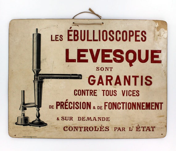 Vintage French Sign Advertising a Alcoholimeters for measuring alcohol content of wine.