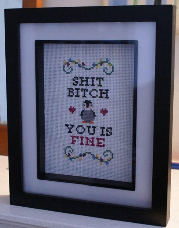 "Handmade ""YOU IS FINE"" Penguin Cross Stitch"