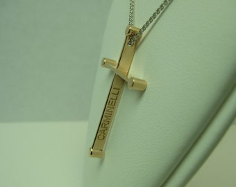 Pink Gold Cross in 14k by Carminelli Designs