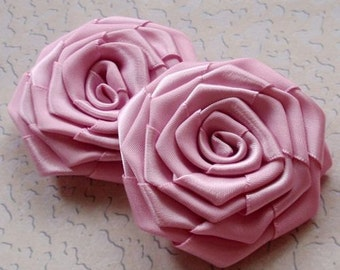 2 Handmade Ribbon Roses (2.5 inches) in Tulip MY-003 -15 Ready To Ship