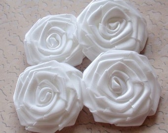4 Handmade Roses (2 inches) In White MY-004 -03 Ready To Ship