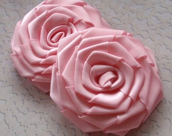 2 Larger Handmade Roses (3 inches) in Rose Pink MY-002 -020 Ready To Ship