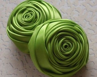 2 Handmade Rolled Roses (2 inches) in Apple Green MY-012 -168 Ready To Ship