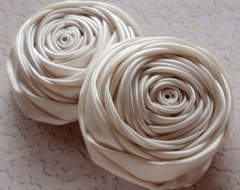 2 Handmade Ribbon  Rolled Roses (2.5 inches) in Cream MY-015 -04 Ready To Ship