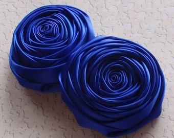 2 Handmade Ribbon Rolled Roses (2.5 inches) in Dark Blue (Viola) MY-015 -92 Ready To Ship