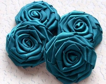 4 Handmade Ribbon Roses (2 inches) In Teal MY-004 -71 Ready To Ship