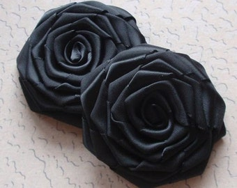 2 Handmade Ribbon Roses (2.5 inches) in Black MY-003-06 Ready To Ship