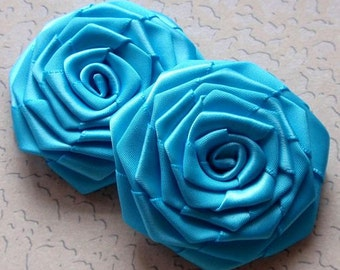 2 Handmade Ribbon Roses (2.5 inches) in Turquoise MY-003-59 Ready To Ship